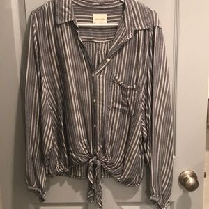 Cotton Button Down Blue/White Stripped Tie Blouse